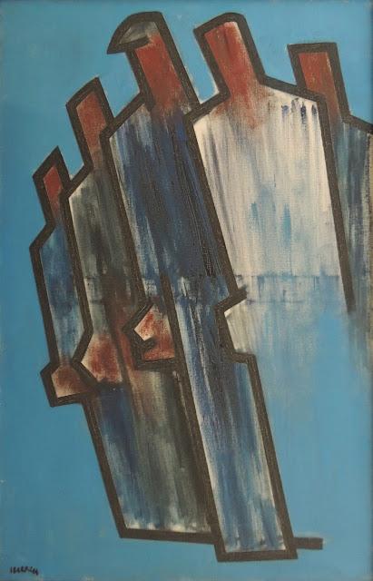 Agustín Ibarrola pintura al óleo original Pueblo