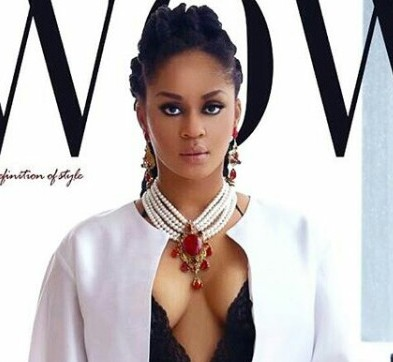 Munachi Abii smolders on the cover of Wow Magazine as she outs her cleavage on display