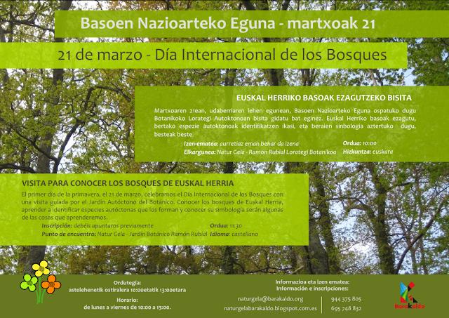 Cartel de la visita al jardín botánico por el Día Internacional de los Bosques