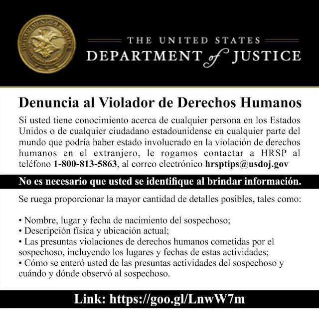 Estos son los pasos a seguir para denunciar a un violador de derechos humanos en los Estados Unidos.