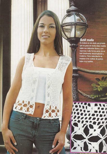 Patrón #1135: Chaleco Blanco a Crochet