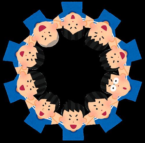 円陣を組むスポーツ選手のイラスト(男性)