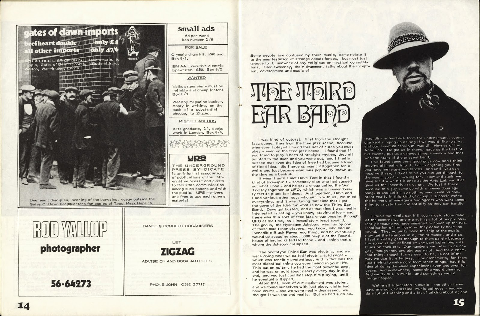 Ghettoraga glen sweeney talks about the teb music on zigzag 4 note in the same issue also an harvest ad for alchemy edgar brouthon bands wasa wasa based on a picture of stonehenge malvernweather