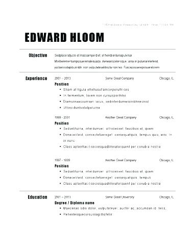 Free Traditional Resume Templates Blank Form Format Elegance Template