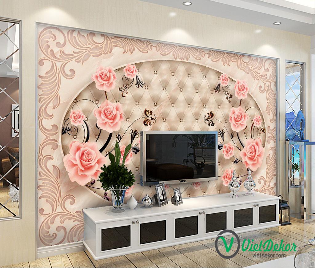 Tranh 3d dán tường hoa hồng phòng ngủ đẹp