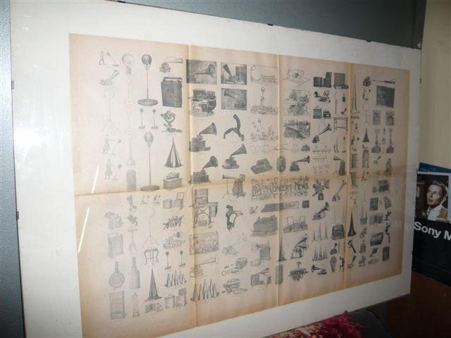 Poster originale dell'epoca con parte delle invenzioni di Thomas Edison
