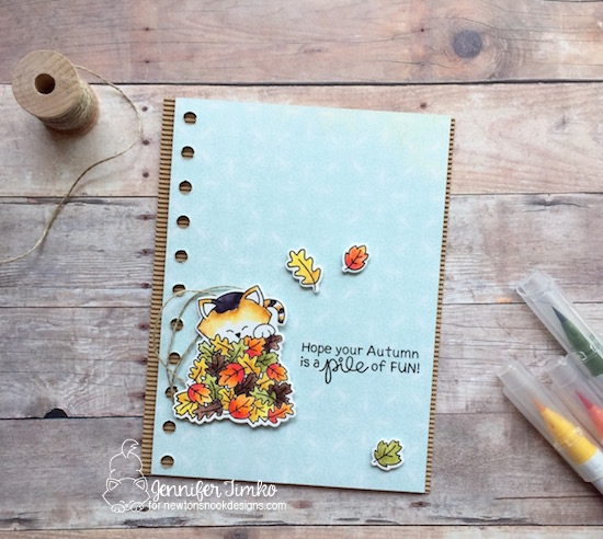 Kitty in Fall Leaves Card by Jennifer Timko | Autumn Newton Stamp Set by Newton's Nook Designs #newtonsnook #handmade