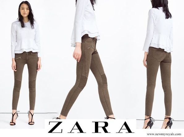 Kate Middleton wore ZARA Mid Rise Biker Trousers