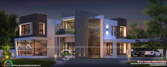 Night view rendering of a luxury ultra modern contemporary house