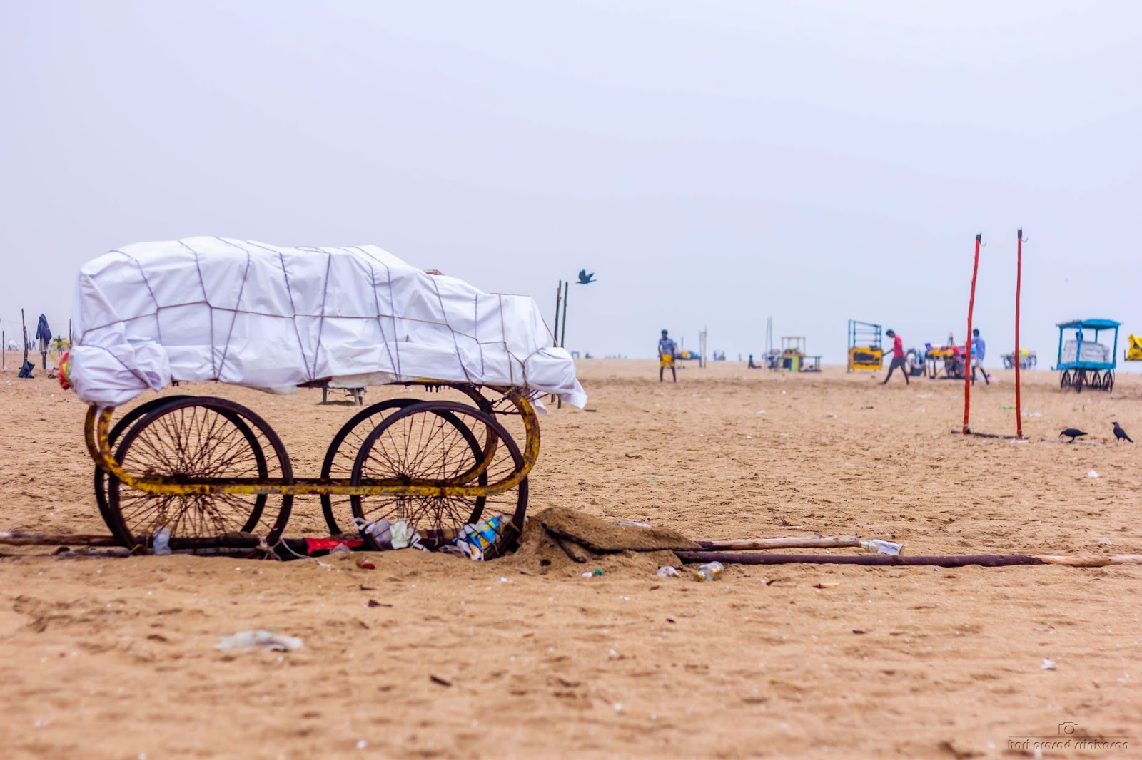 Photo of a cart used in Chennai beach to set-up shop. Photo taken on a cloudy day.