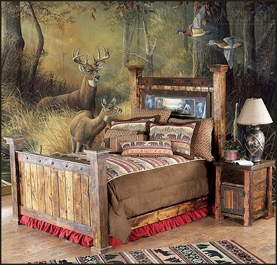 Camp Bear Barn wood Bed log cabin - rustic style decorating - Cabin decor - bear decor - camping in the northwoods style  - Antler decor - log cabin boys theme bedroom - Cabin Bedding - Rustic Bedding - rustic furniture - cedar beds - log beds - LOG CABIN DECORATING IDEAS - Swiss chalet ski lodge murals - camping room decor