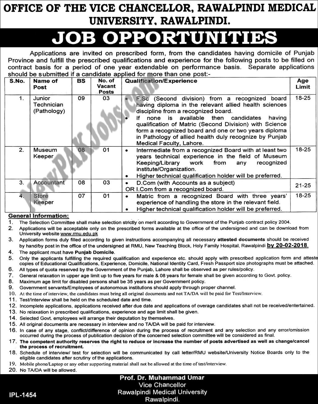 Rawalpindi Medical University New Jobs Advertisement Feb 2018