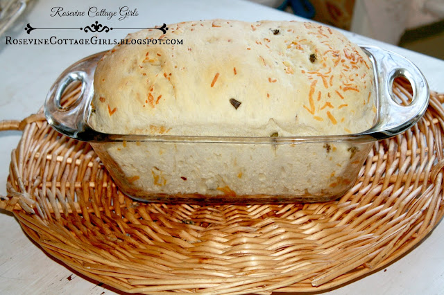jalapeno cheese bread, ranchero bread, spicy sandwich bread, pepper cheese bread, by Rosevine Cottage Girls photo of a loaf of bread in a glass pan on a wicker tray