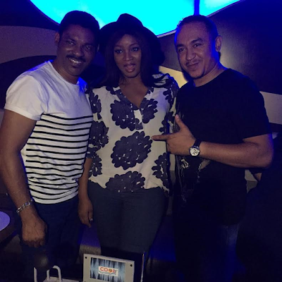 omotola and her husband with Dj Freez at his 4oth birthday party