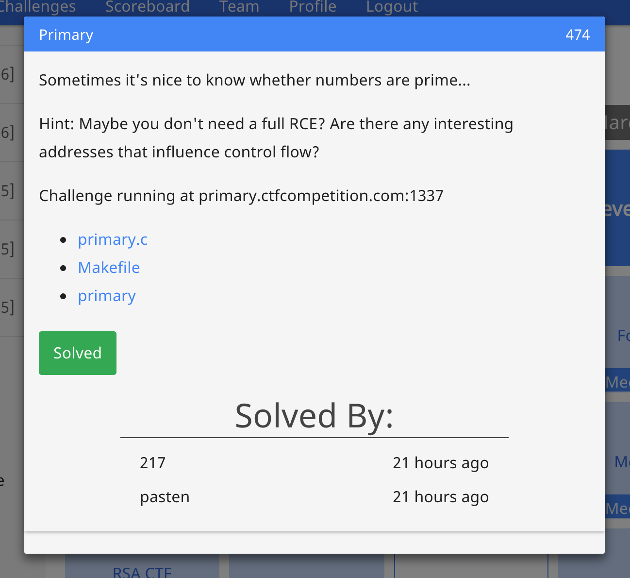 Play With Capture The Flag: [Write-up] Google CTF 2017 - pwn474 primary