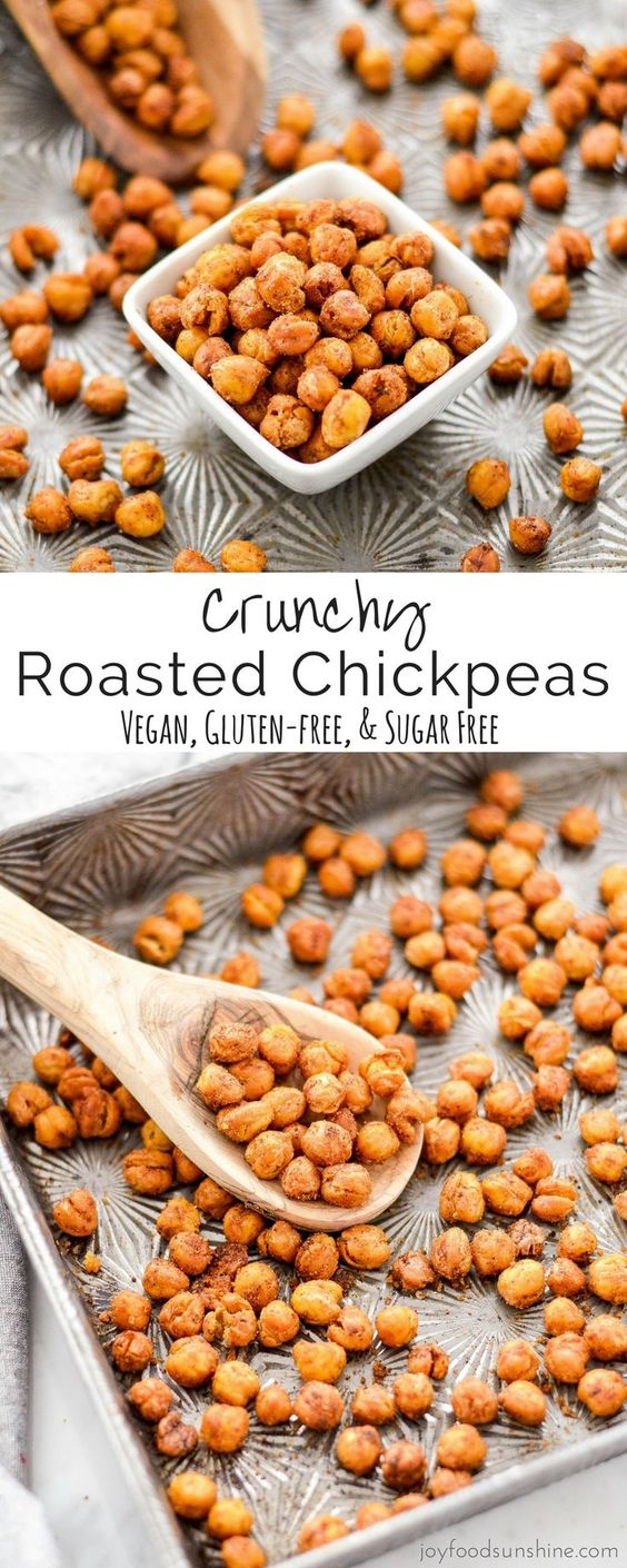 CRUNCHY ROASTED CHICKPEAS #crunchy #roasted #chickpeas #vegan #glutenfree #sugarfree #healthysnack #healthyfood #healthyrecipes #snackrecipes