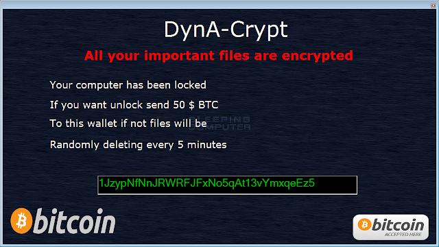 DynaCrypt Ransomware - Ιός Κρυπτογράφησης μην πληρώσετε τα Bitcoin Λύτρα