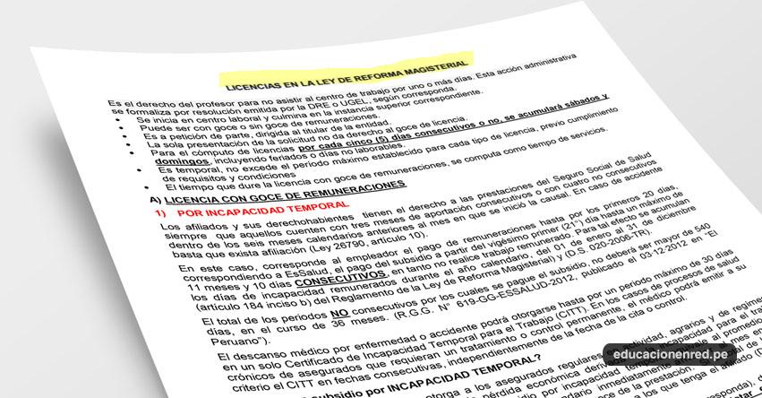 ANÁLISIS: Licencias en la Ley de Reforma Magisterial (Fernando Gamarra Morales)