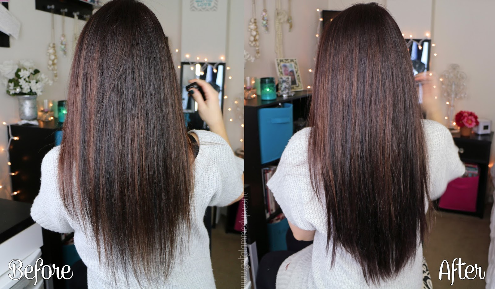 Before And After My Fantasy Hair Extensions Custom Colored 20 180 Grams Natural Ends