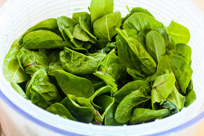 Power Greens Salad with Blueberries and Almonds found on KalynsKitchen.com