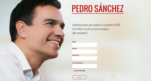 """Pedro Sánchez lanza una campaña en su web para """"reconstruir"""" el PSOE"""