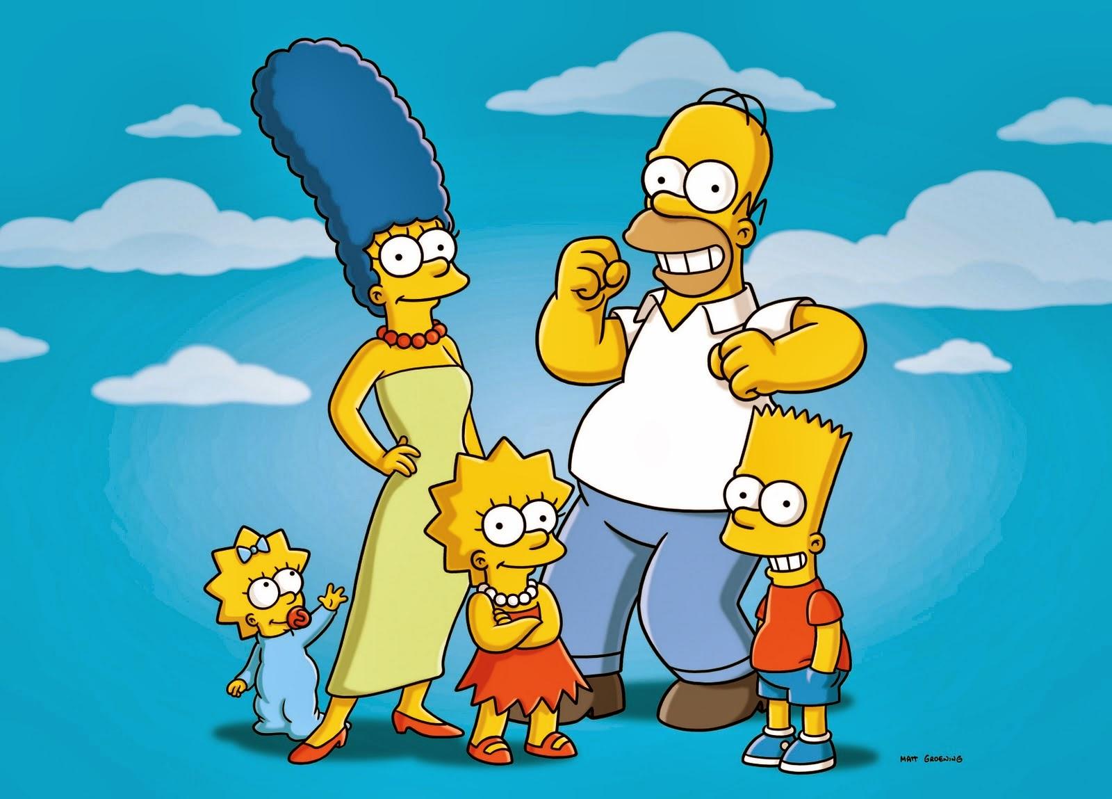 Los Simpsons: Maggie, Burt, Lisa, Homer y el bebé