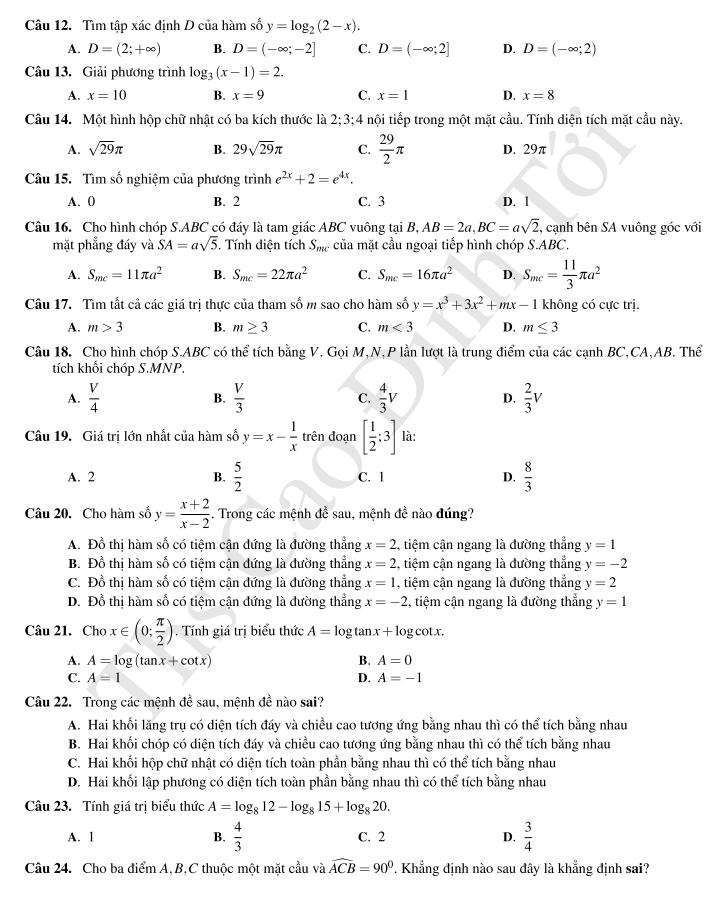 trang 2 đề trắc nghiệm toán HK I lớp 12 chuyên đhsp hà nội 2016 - 2017