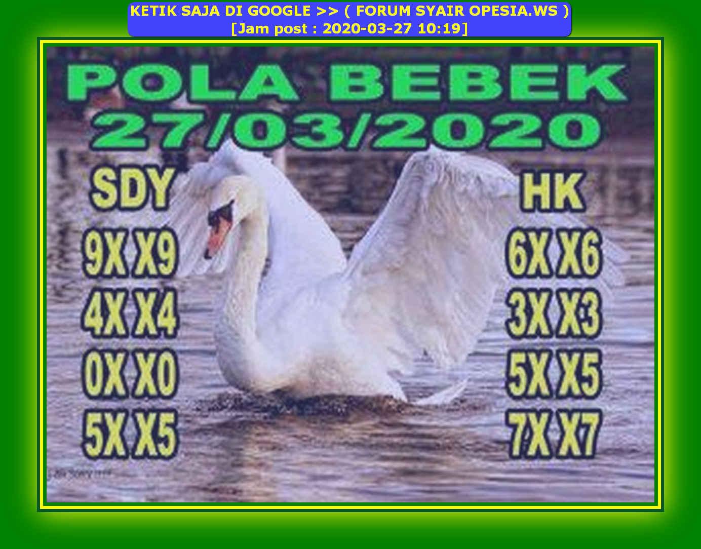 Kode syair Hongkong Jumat 27 Maret 2020 91