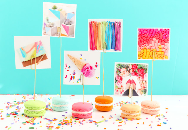 Polymer clay faux macaron photo holders for instagram or instax prints