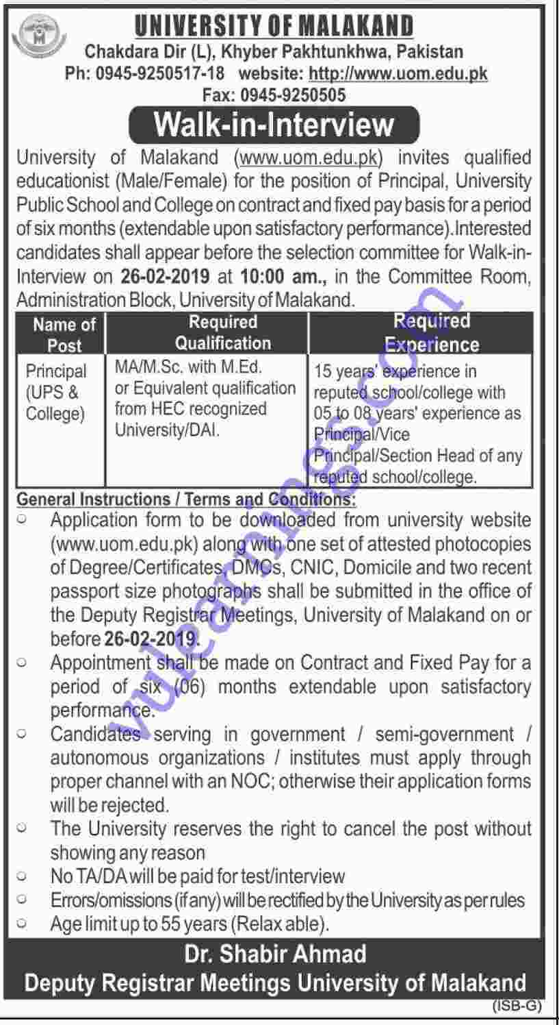 Job in University of Malakand