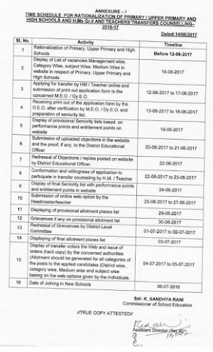 Revised Schedule of AP Teachers Transfers 2017,Online Application