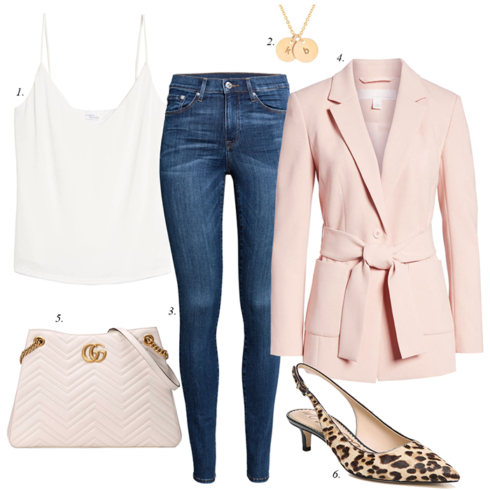 pink blazer, leopard pumps, spring outfit
