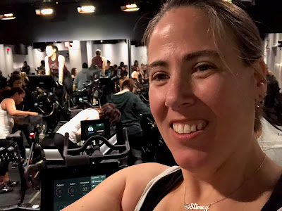 Selfie of me in the studio with Christine on her bike in the background
