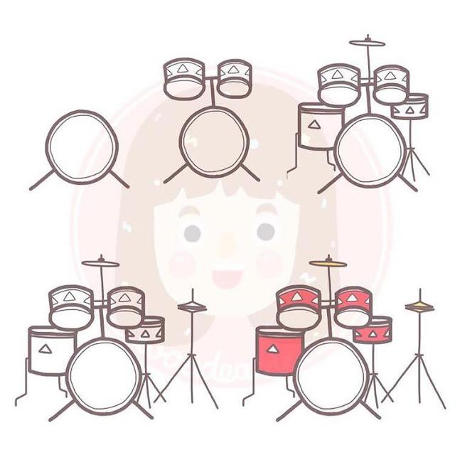 Cara menggambar drumset untuk anak-anak