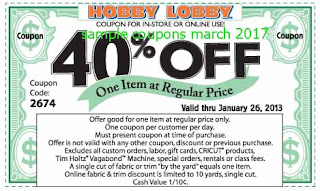 Hobby Lobby coupons for march 2017
