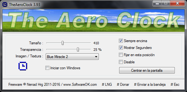 TheAeroClock 4.77 | Reloj analógico personalizable para el escritorio de Windows