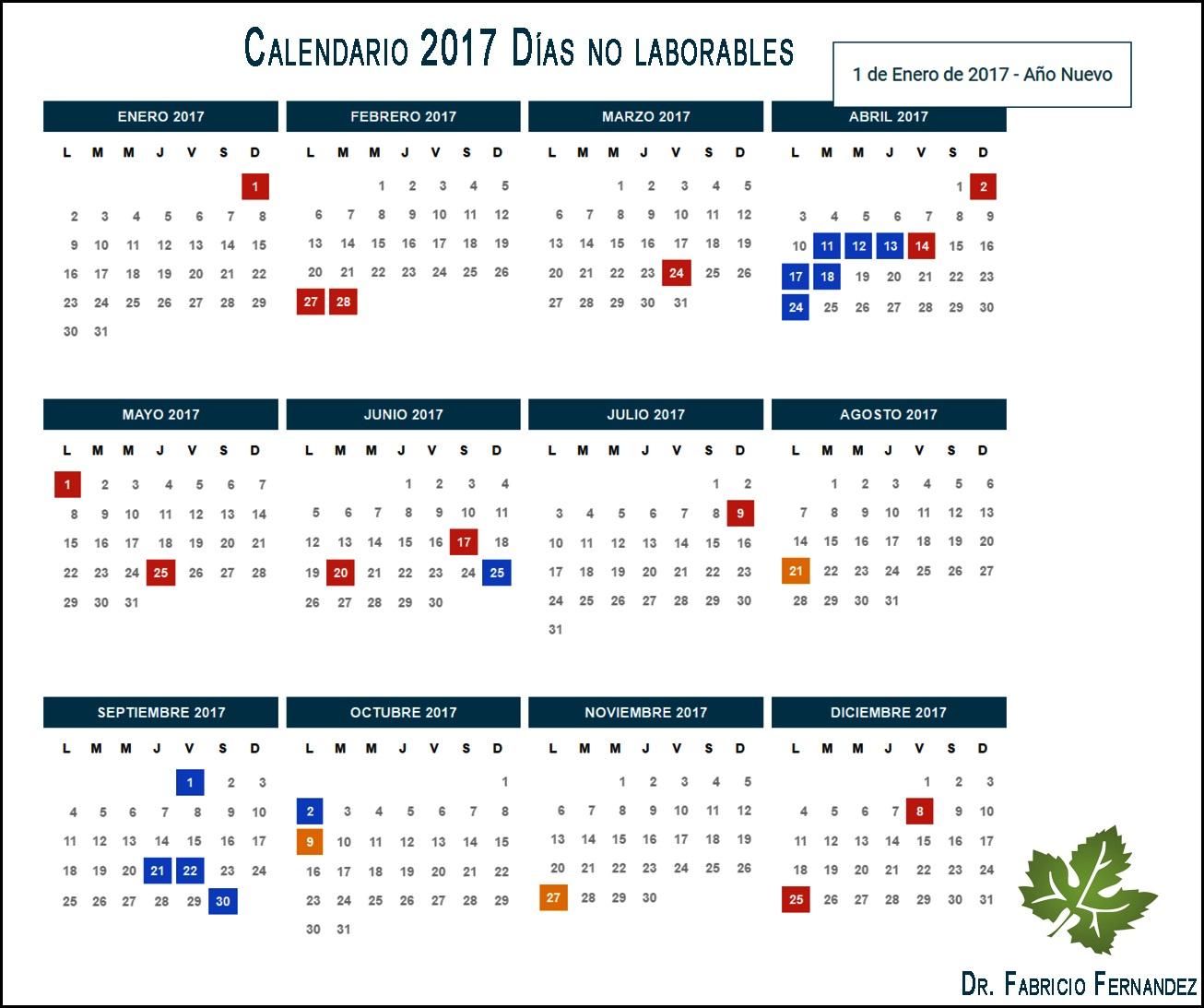 calendario 2017 feriados en argentina días no laborables