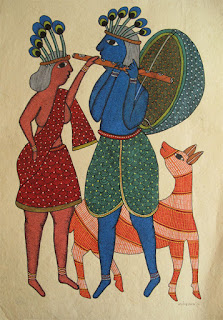 Gond painting of a Flute Player with blue skin and wearing a peacock plumes head-dress