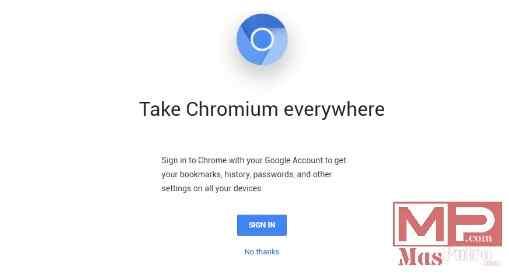 Layar Selamat Datang Chromium