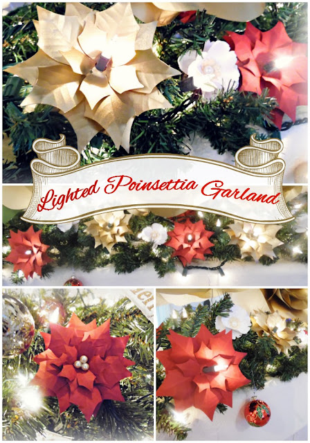 Lighted Christmas Poinsettia Garland. DIY Christmas Decor Ideas. Paper Poinsettias.