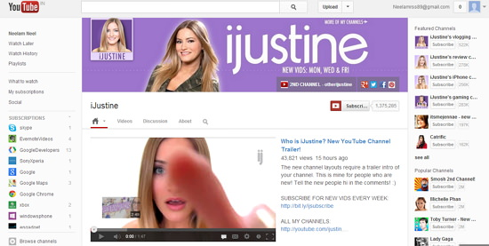 Google Re-designed YouTube Channel Page with Cover Image