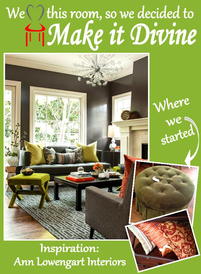 Tangerine Living Room Decor: Divine Consign: Green + Tangerine Living Room Re-Creation
