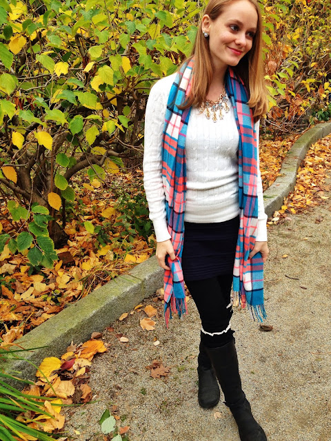 rocksbox statement necklace lauren hope plaid scarf legwarmers