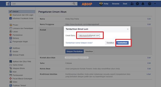 Masukkan email baru atau nomor hp baru dan tambahkan.