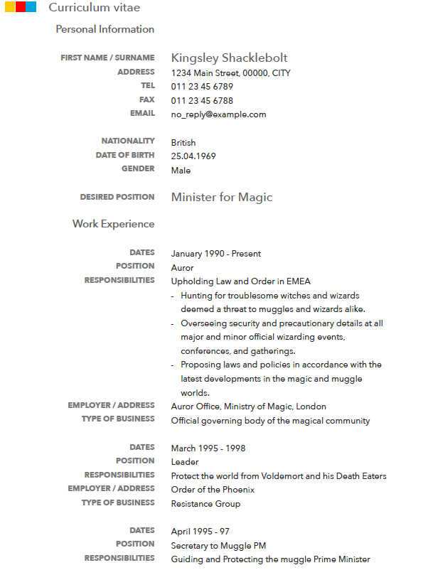 CV Sample, Curriculum vitae sample, resume sample