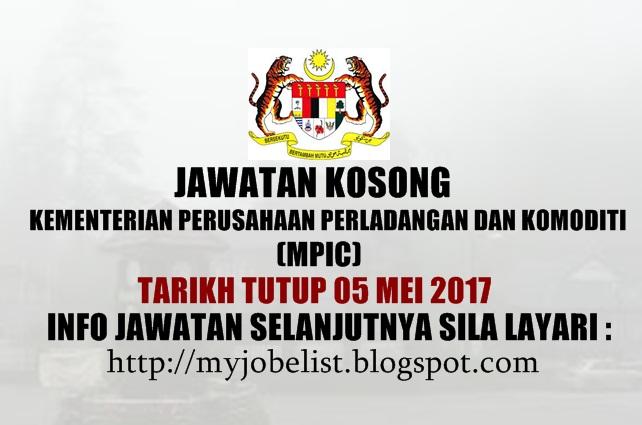 Jawatan Kosong di Kementerian Perusahaann Perladangan dan Komoditi (MPIC) 2017