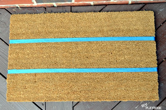 Plain doormat with painter's tape