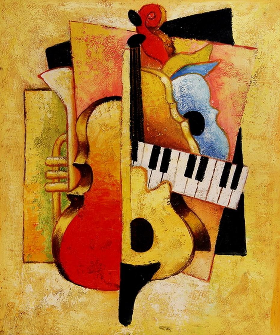 Cuadros modernos pinturas y dibujos cuadros con instrumentos musicales - Imagenes para cuadros ...
