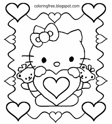 Girl teens Saint Valentines Day pretty teddy bear Hello Kitty colouring book page sweet heart border