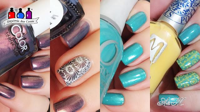 Orly, Bailamos, Azul Turquesa, Shimmer, Azul, Alê M 2018, Color Club, Meteor-Right, Moyra, Vanity, DRK Nails, La femme, Branco, Amarelo